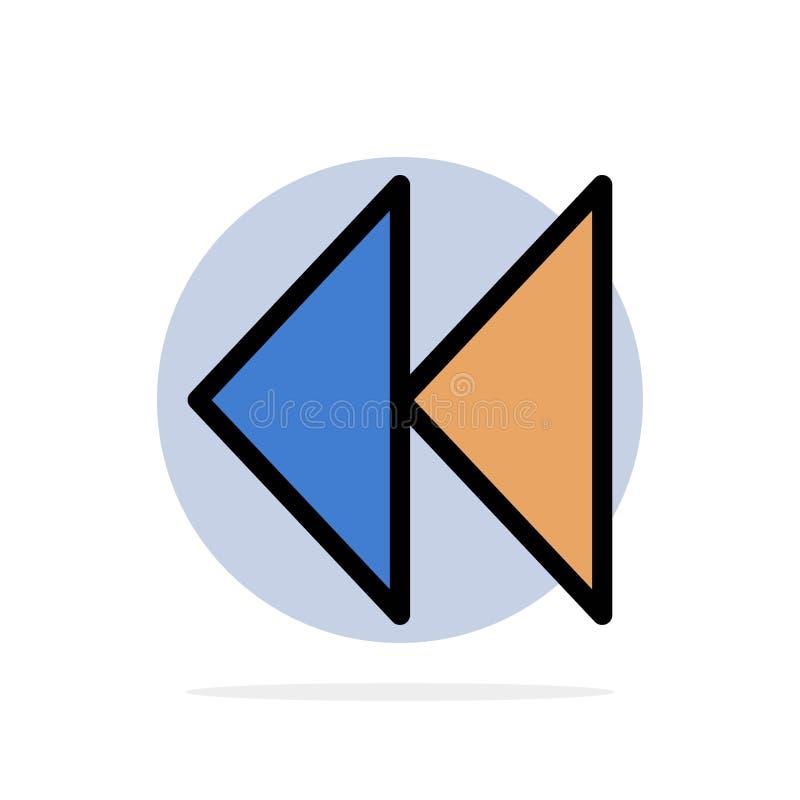Controle, meio, rebobinação, ícone liso da cor do fundo abstrato video do círculo ilustração royalty free