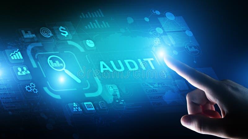 Controle - officieel financieel onderzoek voor zaken als concept op het virtuele scherm royalty-vrije stock afbeeldingen