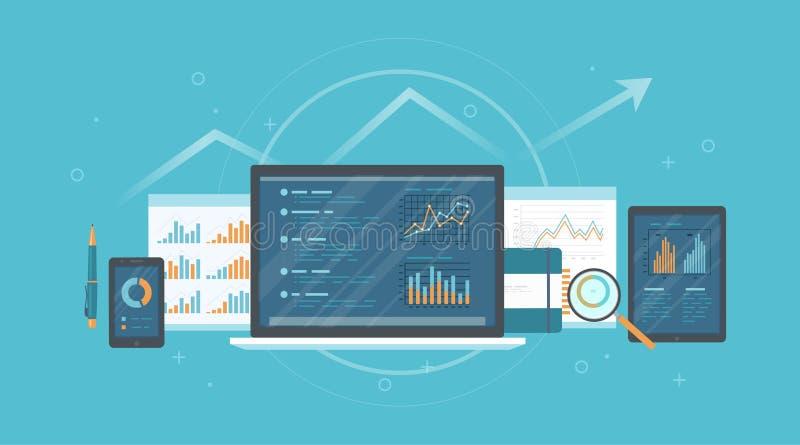 Controle, onderzoek, boekhouding, analyseconcept Web en de online mobiele dienst Documenten, grafiekengrafieken op de schermen va royalty-vrije illustratie