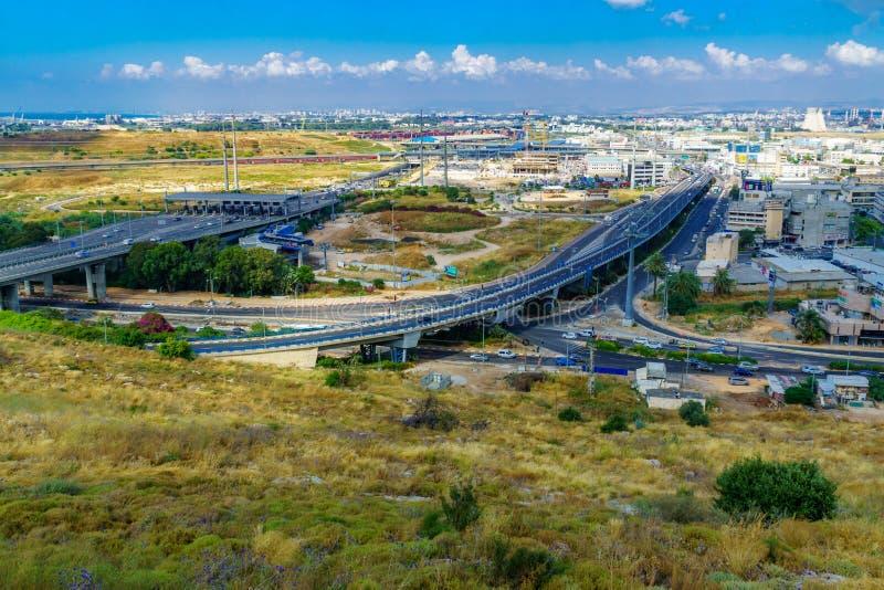 Controle Postverbinding, en baaigebied, in Haifa stock afbeelding