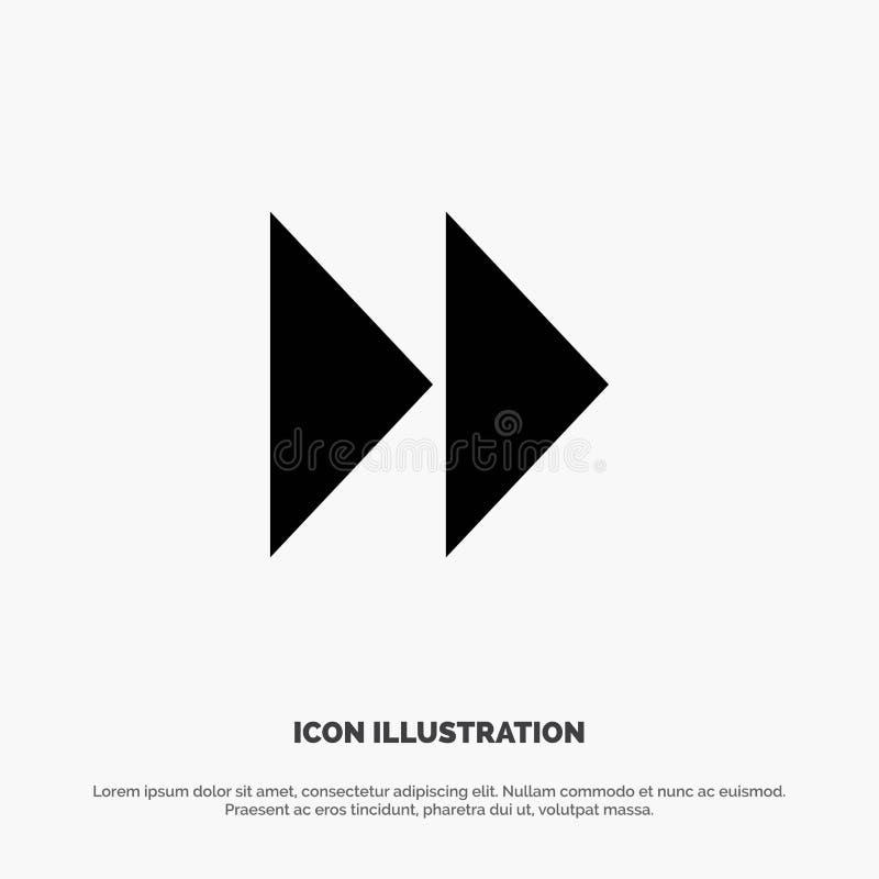 Controle rápido, dianteiro, meios, vetor contínuo do ícone do Glyph do vídeo ilustração stock