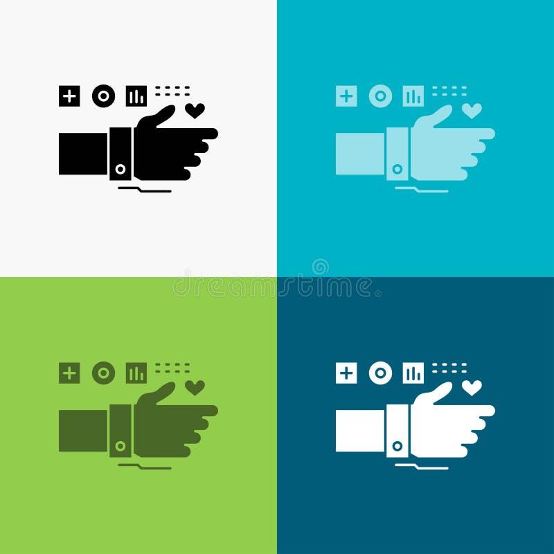 Controle, Technologie, Geschiktheid, Hart, Impulspictogram over Diverse Achtergrond glyph stijlontwerp, voor Web dat en app wordt royalty-vrije illustratie