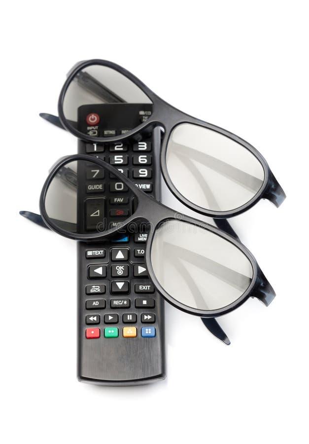 Controle van 3d TV-glazen royalty-vrije stock fotografie