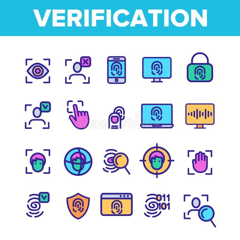 Controle van VectorGeplaatste de Rassenbarrièrepictogrammen van identiteitskaart stock illustratie