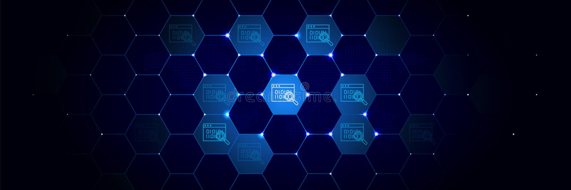 Controle, webpaginapictogram van Algemeen gegevensproject dat in technologisch wordt geplaatst stock illustratie