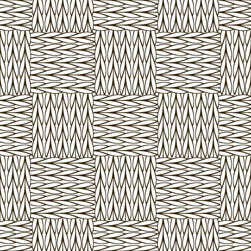 Controle zwart-wit gebreid naadloos patroon Siersamenvatting stock illustratie
