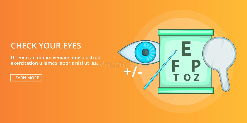 Controleer uw horizontale ogenbanner, beeldverhaalstijl vector illustratie