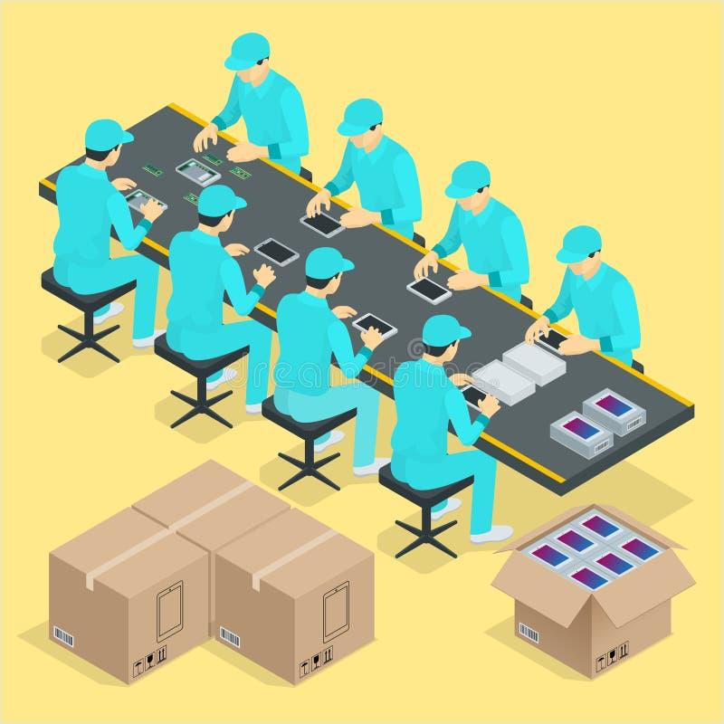 Controleerde de fabrieks Handlopende band met de werken en transportband isometrische de affichevector van het productieproces vector illustratie