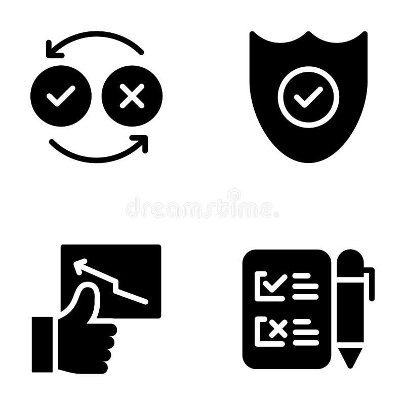 Controlelijst en van Classificatiesglyph Pictogrammenpak vector illustratie