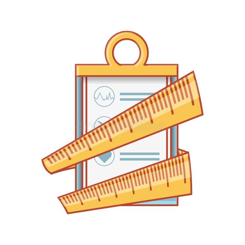 Controlelijstklembord met meetlint stock illustratie