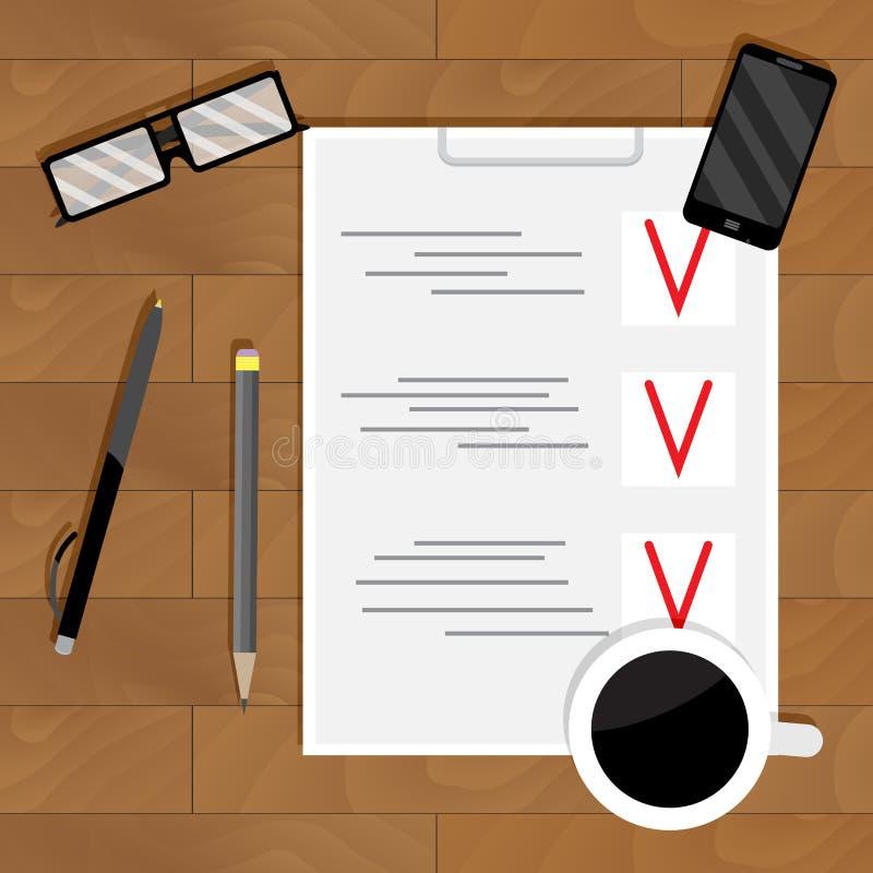 Controlelijstplan en organisatie vector illustratie