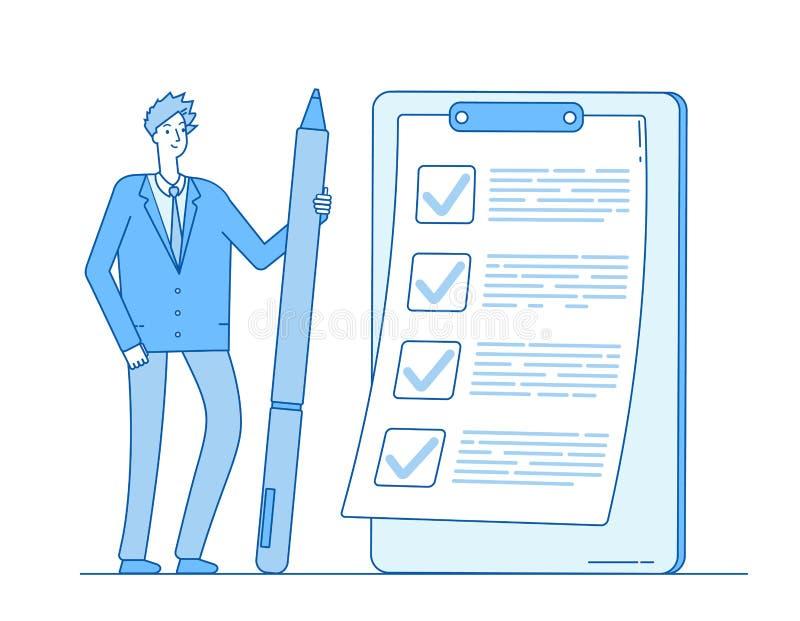 Controlelijstzakenman Het potlood van de persoonsholding bij taaklijst op klembord Volledige de inspectievector van het vragenlij royalty-vrije illustratie