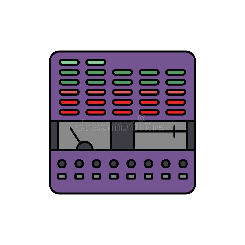 Controlemechanisme, equaliser, audiopictogram Element van het pictogram van het de studiomateriaal van de kleurenmuziek Grafisch  stock illustratie