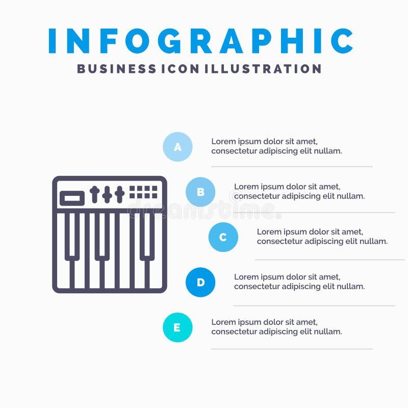 Controlemechanisme, Hardware, Toetsenbord, Midi, het pictogram van de Muzieklijn met infographicsachtergrond van de 5 stappenpres stock illustratie