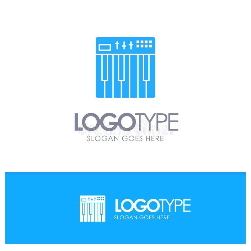 Controlemechanisme, Hardware, Toetsenbord, Midi, Muziek Blauw Stevig Embleem met plaats voor tagline royalty-vrije illustratie