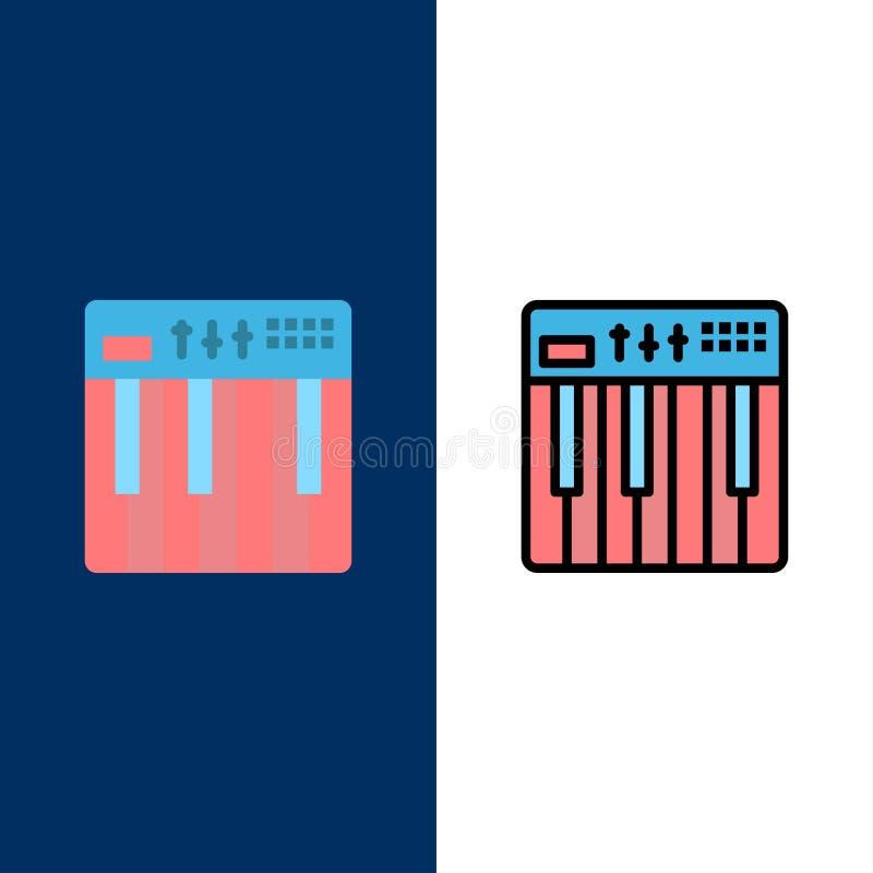 Controlemechanisme, Hardware, Toetsenbord, Midi, Muziekpictogrammen Vlak en Lijn vulde Pictogram Vastgestelde Vector Blauwe Achte stock illustratie