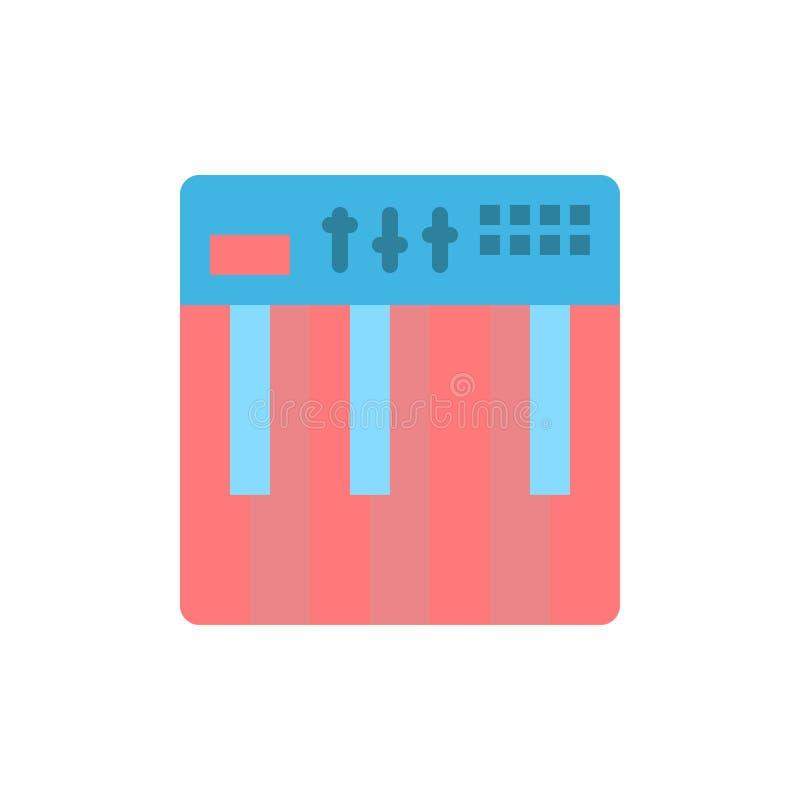 Controlemechanisme, Hardware, Toetsenbord, Midi, Pictogram van de Muziek het Vlakke Kleur Het vectormalplaatje van de pictogramba royalty-vrije illustratie