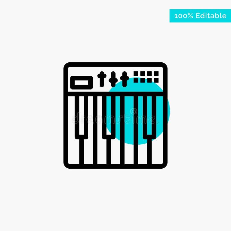 Controlemechanisme, Hardware, Toetsenbord, Midi, van het de cirkelpunt van het Muziek het turkooise hoogtepunt Vectorpictogram vector illustratie