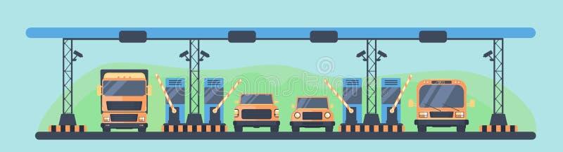 Controlepost op de tolweg Betaling van tol op de tolweg Het gebied van de Higwaytol met vervoer stock illustratie