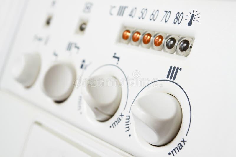 Controles de caldera de la calefacción foto de archivo libre de regalías