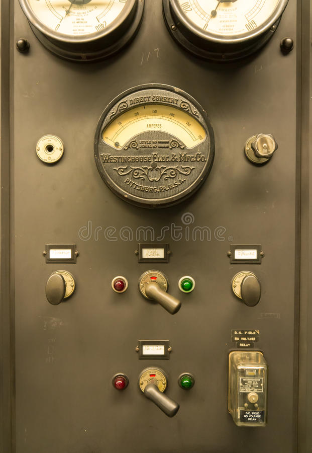 Controles de la central eléctrica del vintage foto de archivo libre de regalías