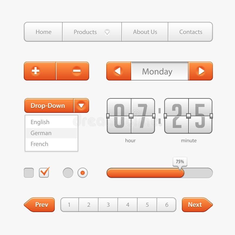 Controles de la interfaz de usuario de la luz anaranjada Elementos del Web Sitio web, software UI: stock de ilustración