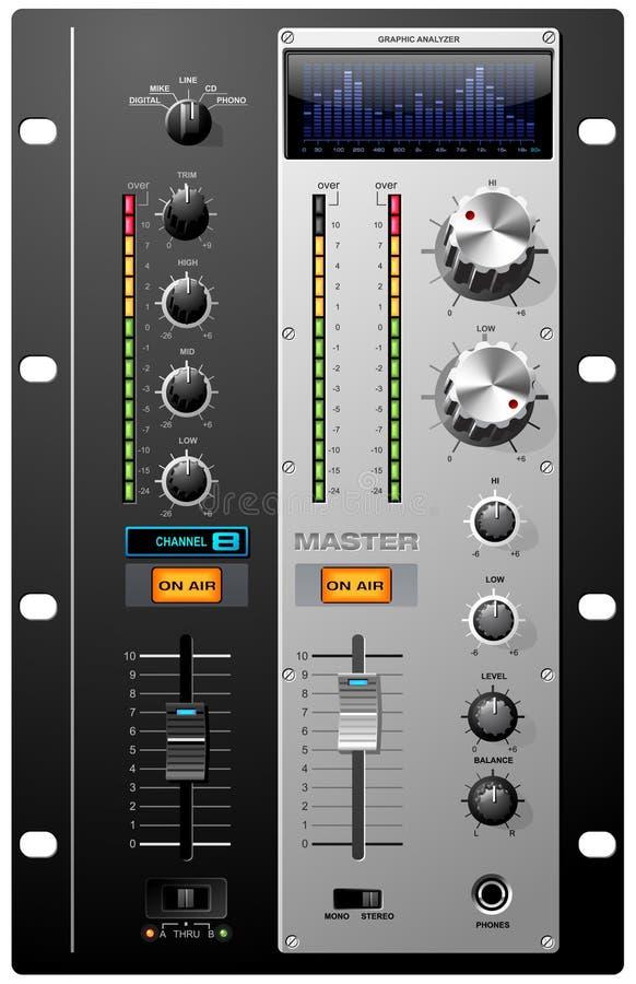 Controles do estúdio de gravação ilustração stock