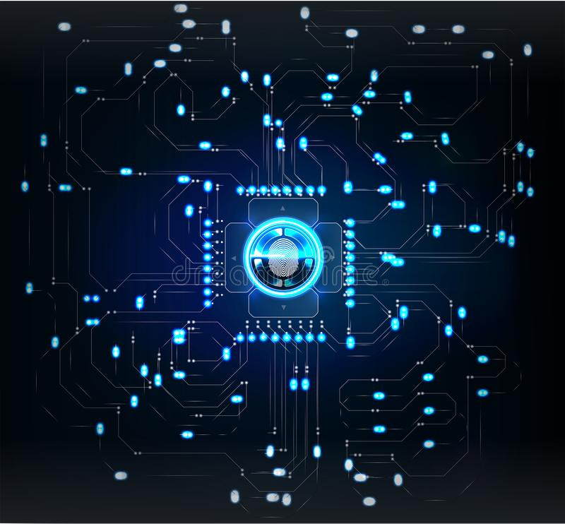 Controlescanners Vingeraftasten in Futuristische Stijl Biometrische identiteitskaart met Futuristisch stock illustratie