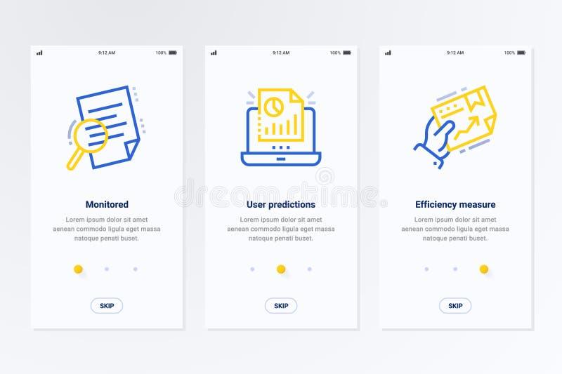 Controllato, previsioni dell'utente, carte verticali di misura di efficienza con le forti metafore illustrazione di stock