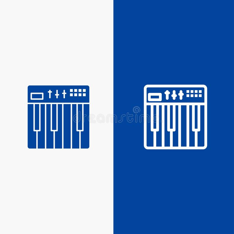 Controller, Hardware, Keyboard, Midi, Music Line and Glyph Solid icon Blue banner Line and Glyph Solid icon Blue banner vector illustration