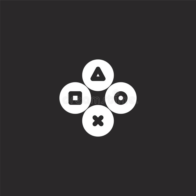 Controller icon. Filled controller icon for website design and mobile, app development. controller icon from filled arcade. Collection isolated on black royalty free illustration