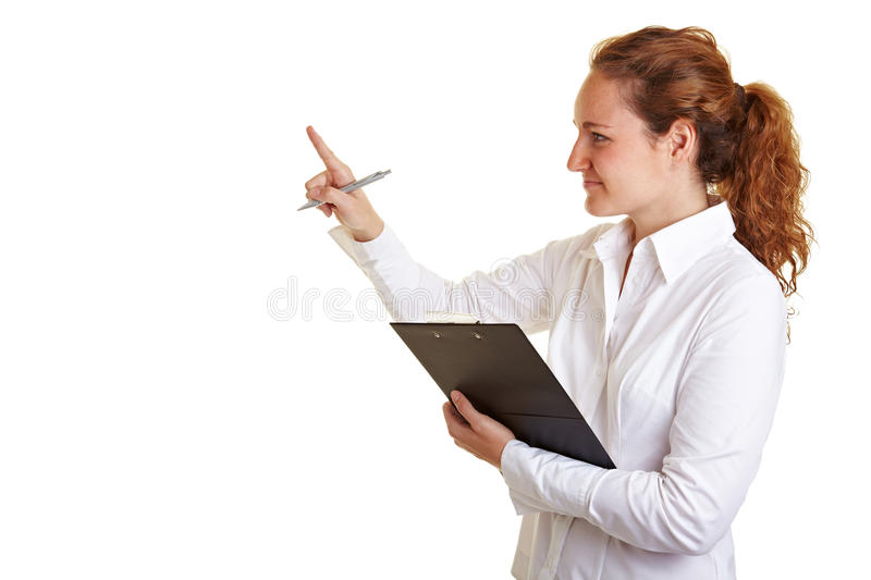 Controller woman checking list on stock image