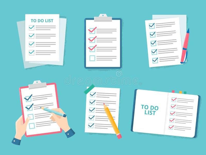 Controlli della lista di priorità della lista di controllo di affari, lista del segno di spunta e carta di controllo per fare l'i illustrazione di stock