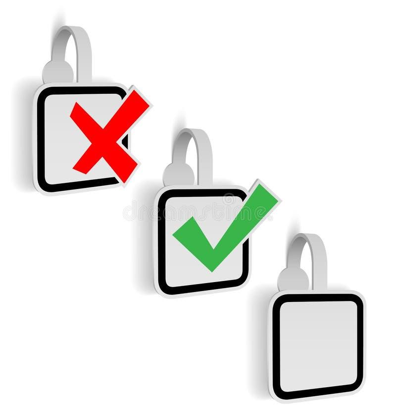 Controlli gli autoadesivi di Mark Yes /NO, illustrazione di vettore illustrazione di stock