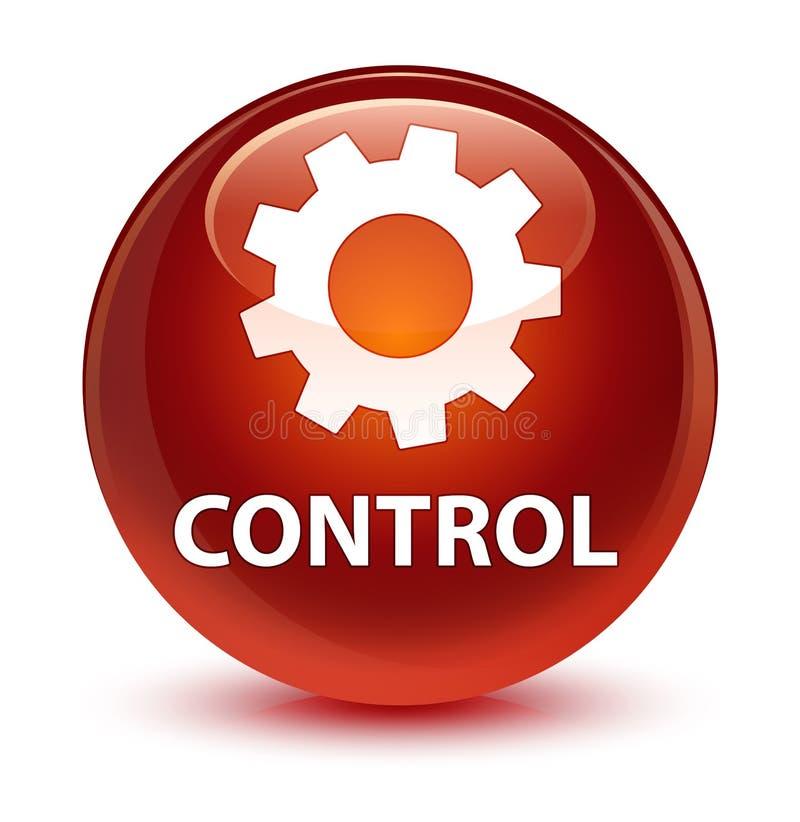 Controlli (icona delle regolazioni) il bottone rotondo marrone vetroso illustrazione di stock