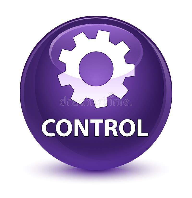 Controlli (icona delle regolazioni) il bottone rotondo porpora vetroso illustrazione vettoriale
