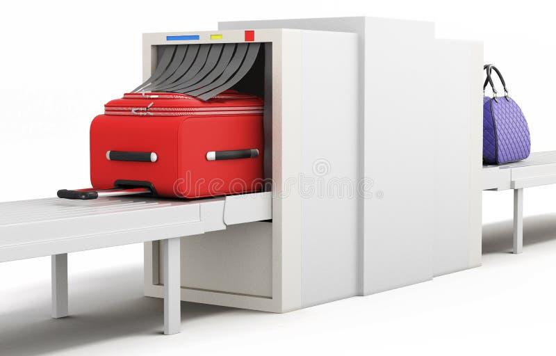 Controlli il bagaglio all'analizzatore dei raggi x dell'aeroporto illustrazione 3D royalty illustrazione gratis
