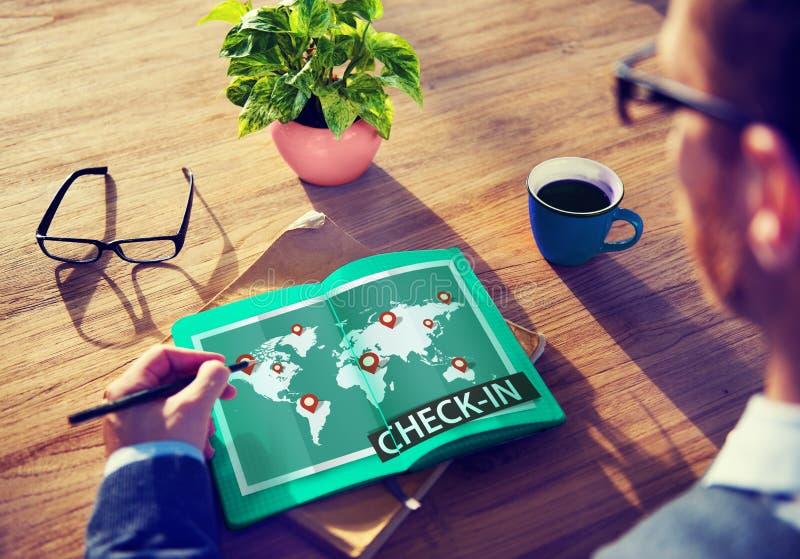 Controlli il concetto globale del mondo di viaggio del punto di posizione di cartografia immagine stock libera da diritti