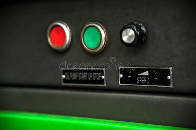 Controlli la fermata di inizio dei bottoni per la fornitura di petrolio all'attrezzatura diagnostica del combustibile immagine stock
