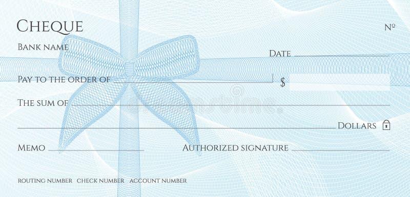 Controlli, modello del carnet di assegni dell'assegno Modello della rabescatura con la filigrana blu dell'arco royalty illustrazione gratis