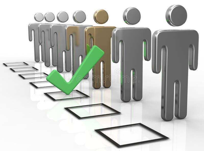 Voto della casella di controllo per scegliere persona illustrazione vettoriale