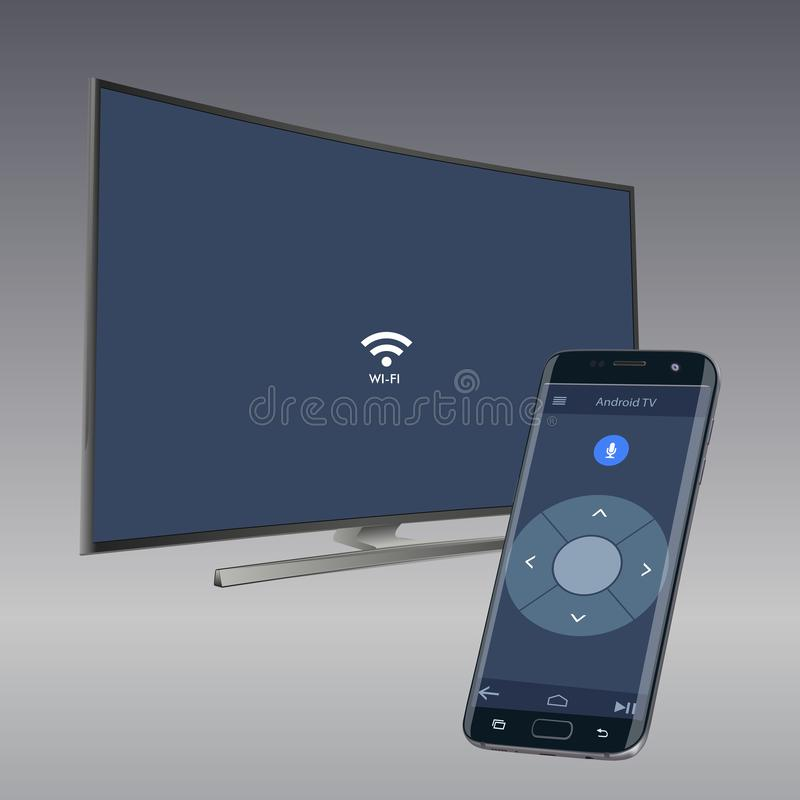 Controlling curved smart LED HD TV series with smartphone applications. Vector illustration royalty free illustration