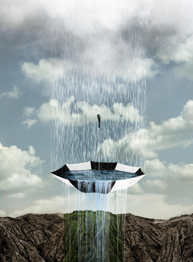 Controlling the rain. Concept for the need for water and who will control the resource. The rain falls only into the umbrella and then comes out in one area stock photography