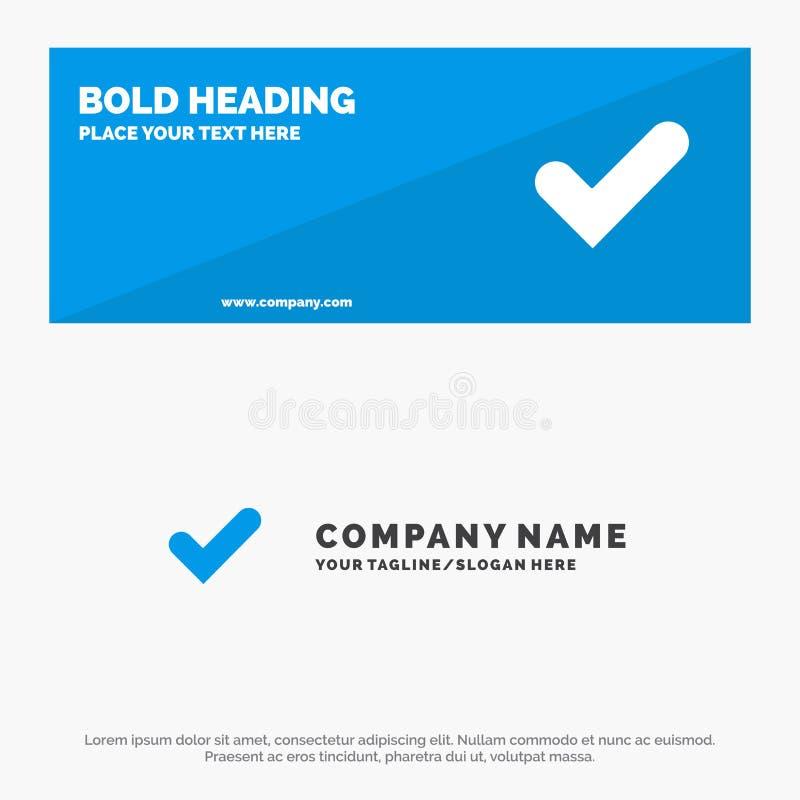 Controllo, approvazione, segno di spunta, buona insegna solida del sito Web dell'icona ed affare Logo Template illustrazione vettoriale
