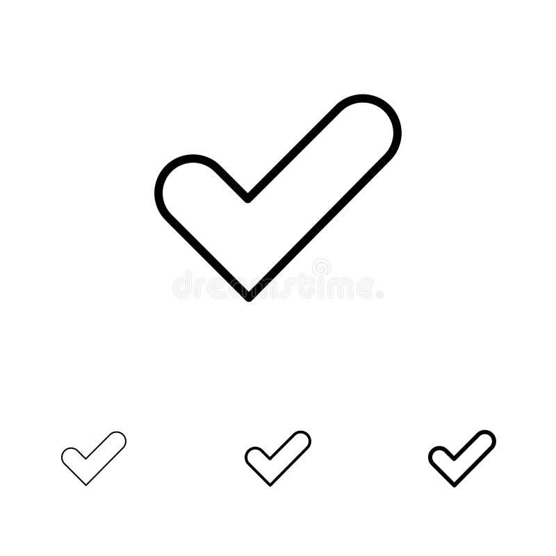 Controllo, approvazione, segno di spunta, buona linea nera audace e sottile insieme dell'icona royalty illustrazione gratis