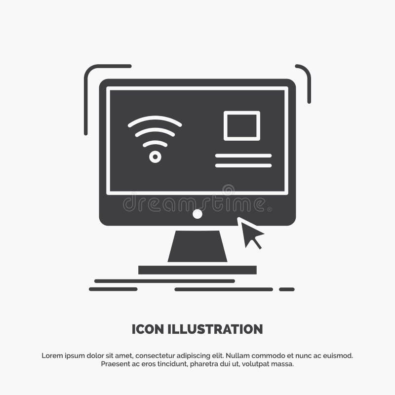 Controllo, computer, monitor, icona a distanza e astuta simbolo grigio di vettore di glifo per UI e UX, sito Web o applicazione m illustrazione vettoriale