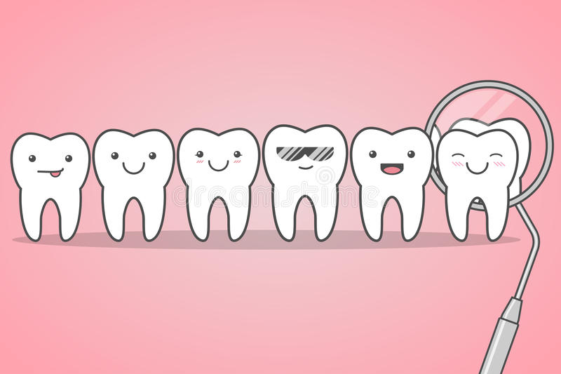 Controllo dei denti al dentista royalty illustrazione gratis