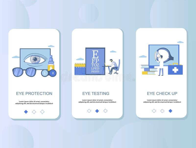 Controllo dell'occhio sul modello onboarding di vettore degli schermi del app mobile illustrazione vettoriale