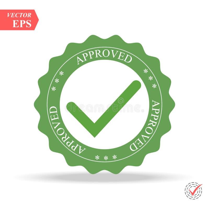 Controllo di qualità approvato Segno di spunta nel colore verde, illustrazione Bollo approvato illustrazione di stock
