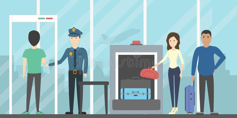 Controllo di sicurezza aeroportuale illustrazione vettoriale